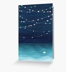 Garland of stars, teal ocean Greeting Card