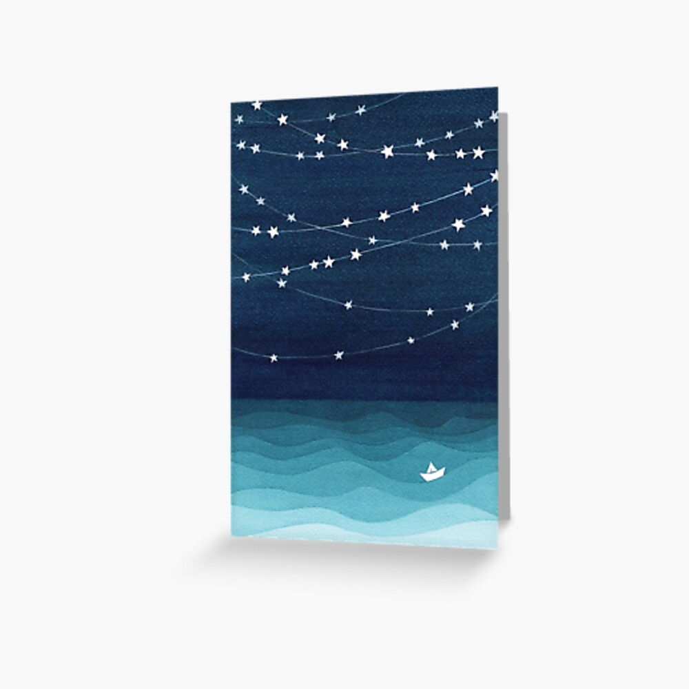 Garland of stars, teal ocean Greeting Card