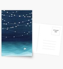 Garland of stars, teal ocean Postcards