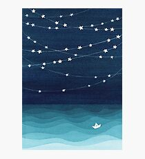 Garland of stars, teal ocean Photographic Print