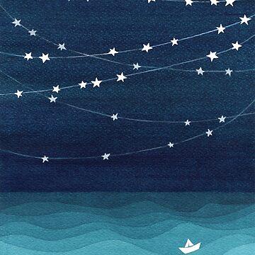 Garland von Sternen, aquamariner Ozean von VApinx