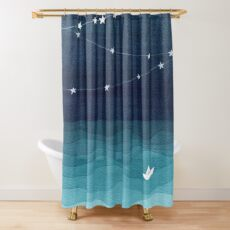 Garland of stars, teal ocean Shower Curtain