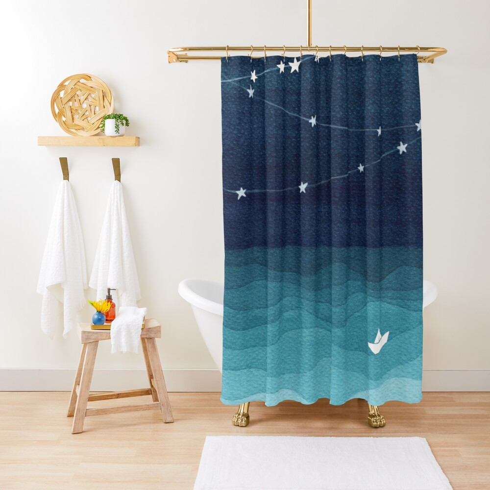 Garland of stars, teal ocean Shower Curtain