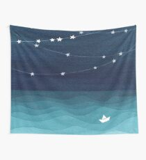 Garland of stars, teal ocean Wall Tapestry