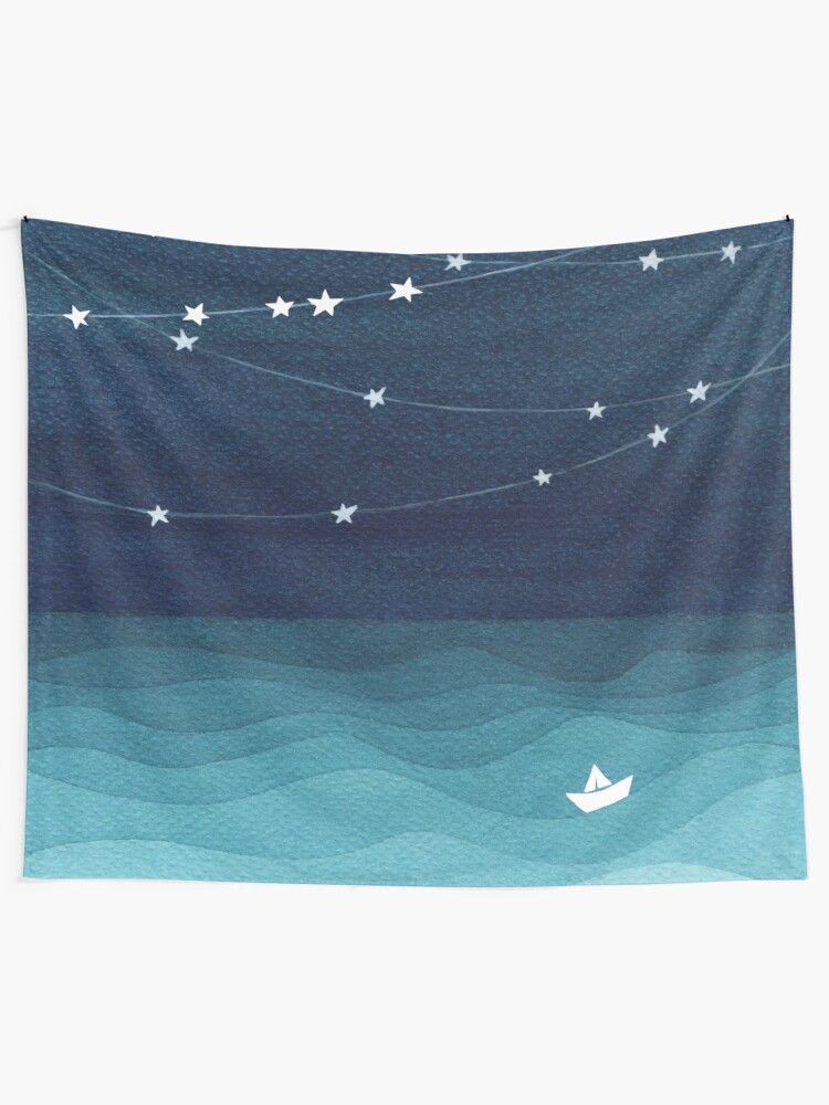 Alternate view of Garland of stars, teal ocean Tapestry
