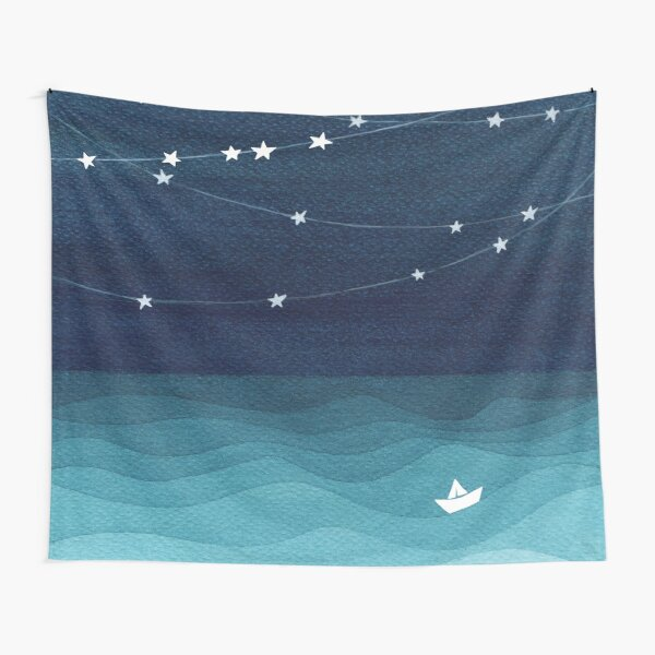 Garland of stars, teal ocean Tapestry