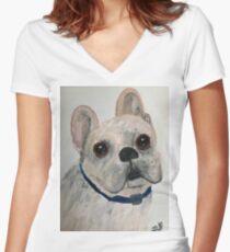 French Bulldog Women's Fitted V-Neck T-Shirt