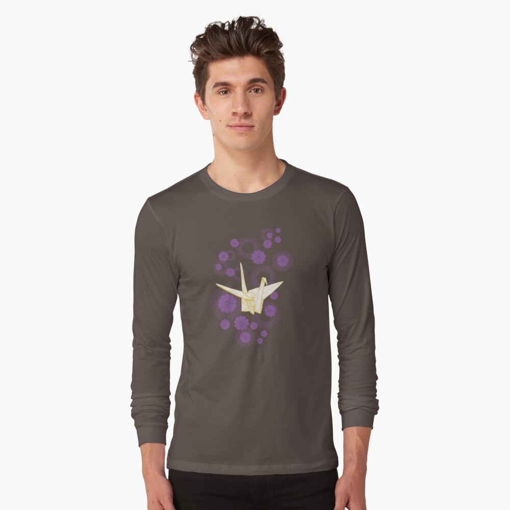Paper Crane and Cherry Blossoms Long Sleeve T-Shirt