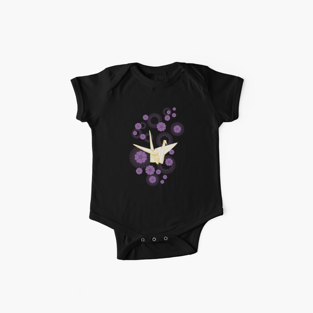 Paper Crane and Cherry Blossoms Baby One-Piece