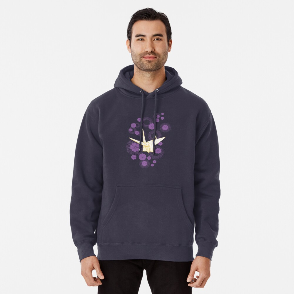 Paper Crane and Cherry Blossoms Pullover Hoodie