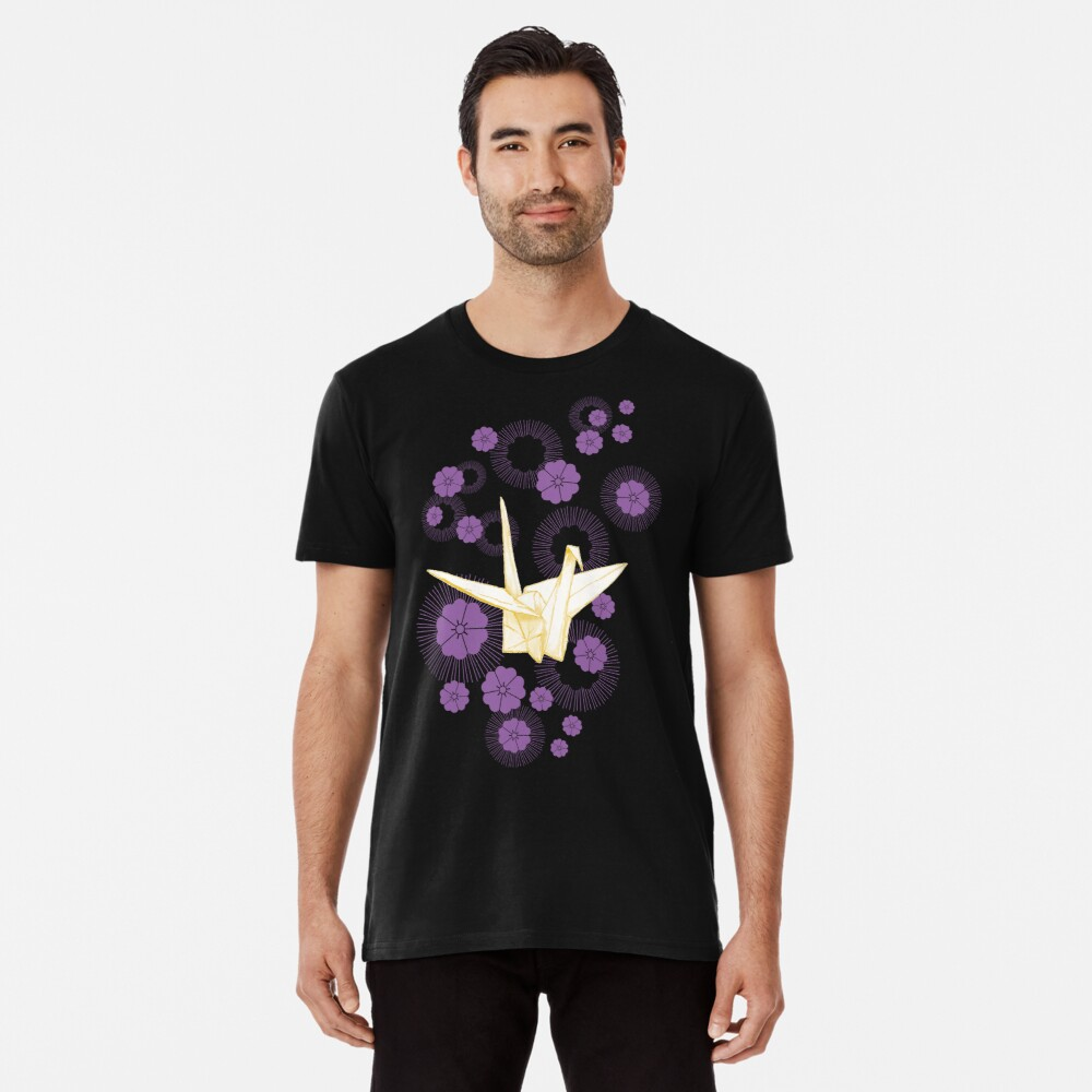 Paper Crane and Cherry Blossoms Premium T-Shirt