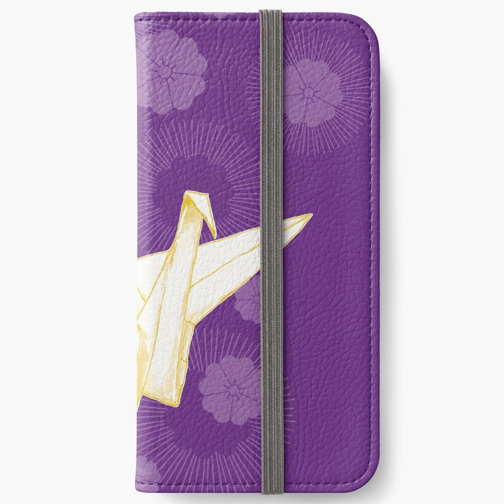 Paper Crane and Cherry Blossoms iPhone Wallet