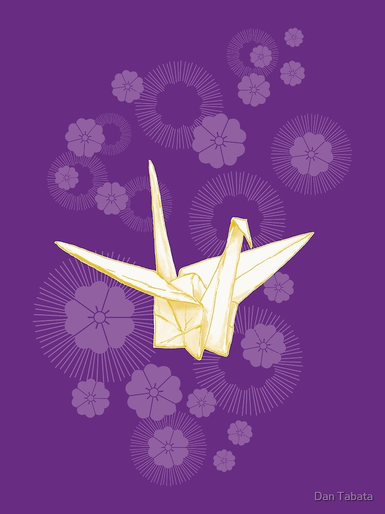 Paper Crane and Cherry Blossoms by Dan Tabata