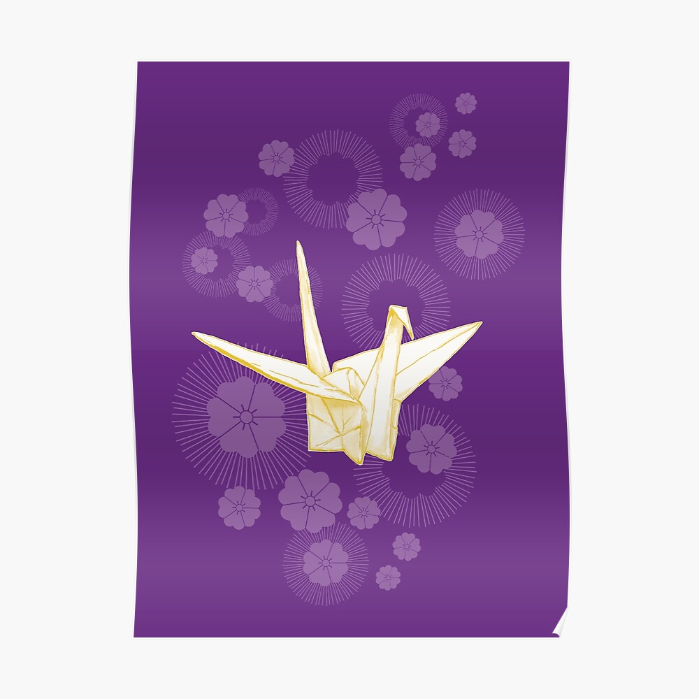 Paper Crane and Cherry Blossoms Poster