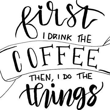 Primera taza de café - etiqueta engomada de Plantlifegirl