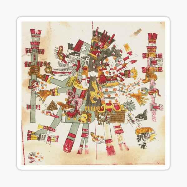 Aztec Gods  Mictlantecuhtli and Quetzalcoatl Print Sticker