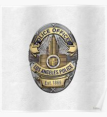 Los Angeles Police Department - LAPD Police Officer Badge over White Leather Poster