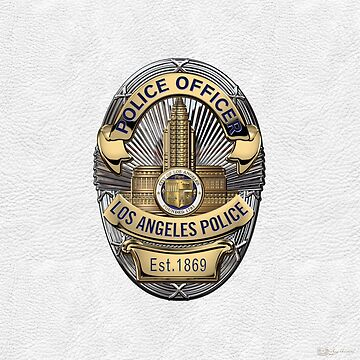 Los Angeles Police Department - LAPD Police Officer Badge over White Leather by Captain7
