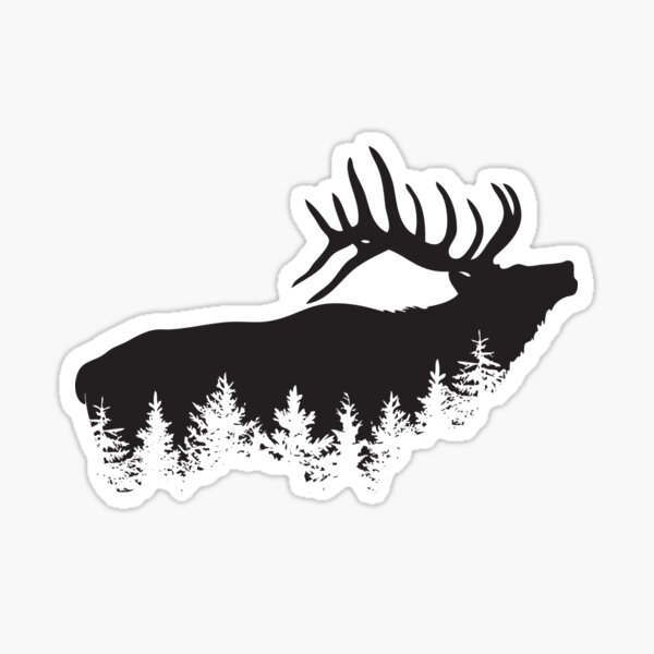 Deer and Evergreens Hunting Sticker