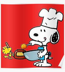 Snoopy and Woodstock cooking - Sticker Poster