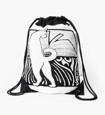 Cat With Book Drawstring Bag