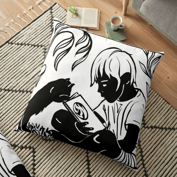 Boy and Cat Reading Floor Pillow
