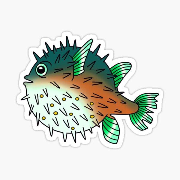 Seafoam Pufferfish Sticker