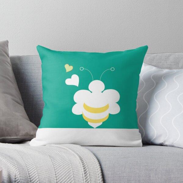 Honey Bee Green Yellow Heart Love Throw Pillow