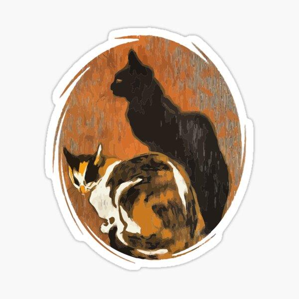 Calico Cat And Black Cat After Steinlen Zwei Katzen Sticker