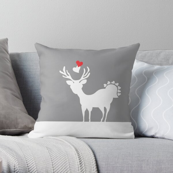 Deer Alloy Beige Heart Love Throw Pillow