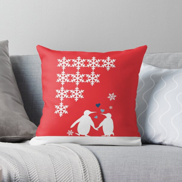 Penguin Couple Dancing in Snow Throw Pillow