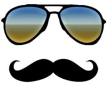 Aviator Sunglasses and Handlebar Mustache by CuteNComfy