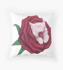 Rosey Katze - Weiß Dekokissen