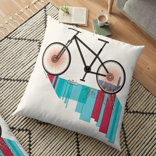 Discover Hong Kong Bicycle Floor Pillow