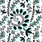 Vine and Leaf Motif Pattern (Black and Turquoise) by christinadesign