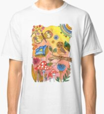 watercolor collection of plants and flowers, bird owl on a branch Classic T-Shirt