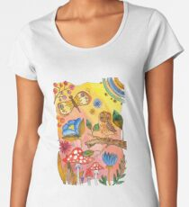 watercolor collection of plants and flowers, bird owl on a branch Women's Premium T-Shirt