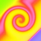 Bright Yellow Pink Swirl Abstract by donnagrayson