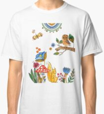 watercolor collection of plants and flowers, bird owl and squirrel under the mushroom Classic T-Shirt