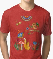 watercolor collection of plants and flowers, bird owl and squirrel under the mushroom Tri-blend T-Shirt