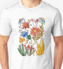 watercolor collection of plants and flowers, squirrel under the mushroom Unisex T-Shirt