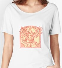 Mexican Eagle Devouring Snake Etching Women's Relaxed Fit T-Shirt