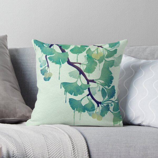O Ginkgo (in Green) Throw Pillow