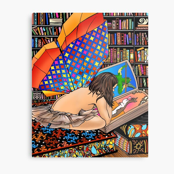 Book Fairy in Library Metal Print
