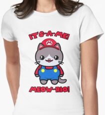 Cat Cute Funny Kawaii Mario Parody Women's Fitted T-Shirt