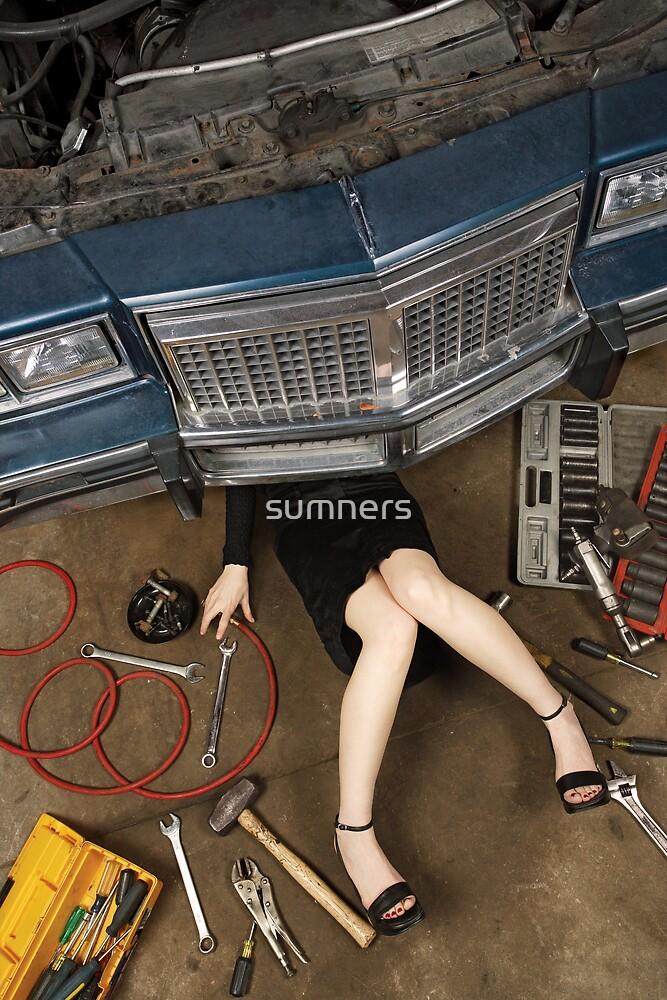 Female mechanic fixing stuff by sumners