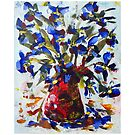 Blue Flowers in Red Vase - Acrylic Postcard by Paul Gilbert