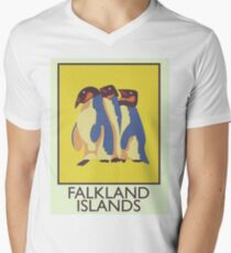 Falkland Islands travel poster Men's V-Neck T-Shirt