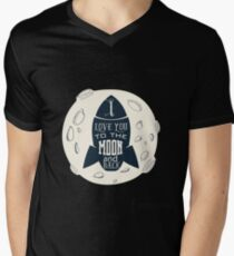 Space Rocket  Funny Design - I Love You To The Moon And Back  Men's V-Neck T-Shirt