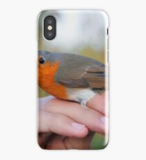 Israel ringing an European Robin (Erithacus rubecula) iPhone Case